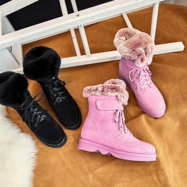Neige Chaude Nouvelle 2018 De Femmes Hiver Arrivée Plat Cheville Noir rose Mode Zorssar Plate Bottes Chaussures forme I8SzwIq
