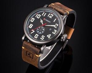 Image 2 - CURREN skórzany męski zegarek na pasku Fashion Design tarcza z cyframi męski wyświetlacz zegara data tydzień zegarek kwarcowy Hodinky Relogio Masculino