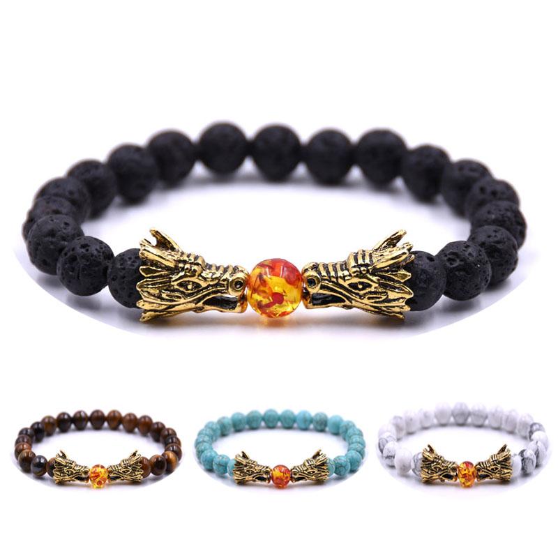 HYHONEY 8MM Natural Stone Beads Bracelet For Men bileklik Men Jewelry Dragon pulseras 2