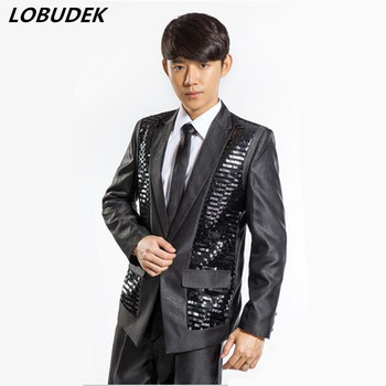 Wedding outcoat Male sequins full dress suits prom costume outfit clothing jacket blazer show studio wedding singer party host