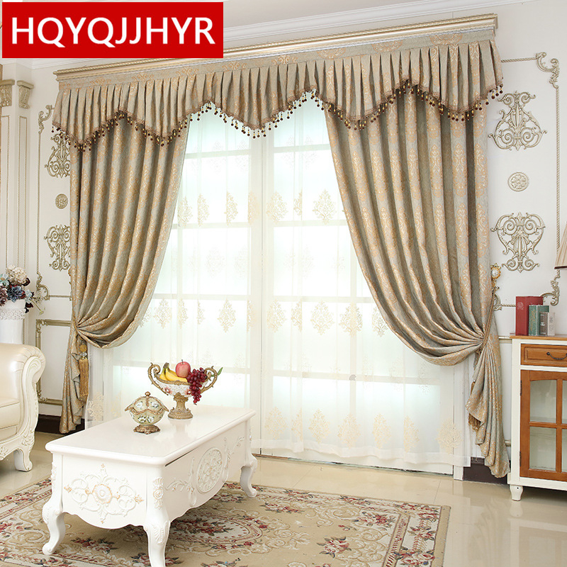 Luxury European Villa Jacquard Blackout Curtains For Living Room Modern  Classic High Quality Curtains For The