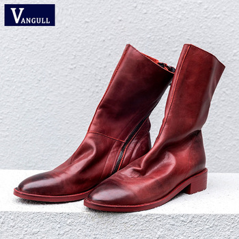 VANGULL Women ankle boots Shoes Genuine Leather Vintage Zip Ladies Motorcycle Boots felt boots Female Snow Boot Short Fur Winter