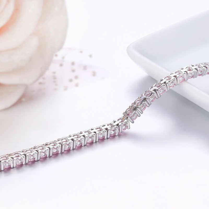 3mm 925 Sterling Silver Cluster okrągły różowy CZ Ziron bransoletki tenisowe Pulseras Pulseira Bracelete kobiety biżuteria dziewczyna prezent dla przyjaciela