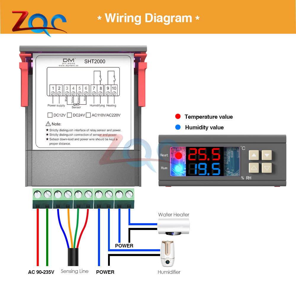 Buy Sht2000 Ac 110v 230v 10a Led Digital Thermostat 4 Wire Thermometer Diagram Hygrometer Control Temperature Humidity Controller Meter Sht21 Probe From