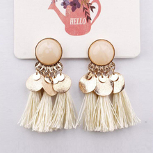 2019 Ethnic Bohemia Women Dangle Drop Earrings Summer Round Resin Tassel Earrings for Women Fashion Jewelry Pendientes oorbellen(China)