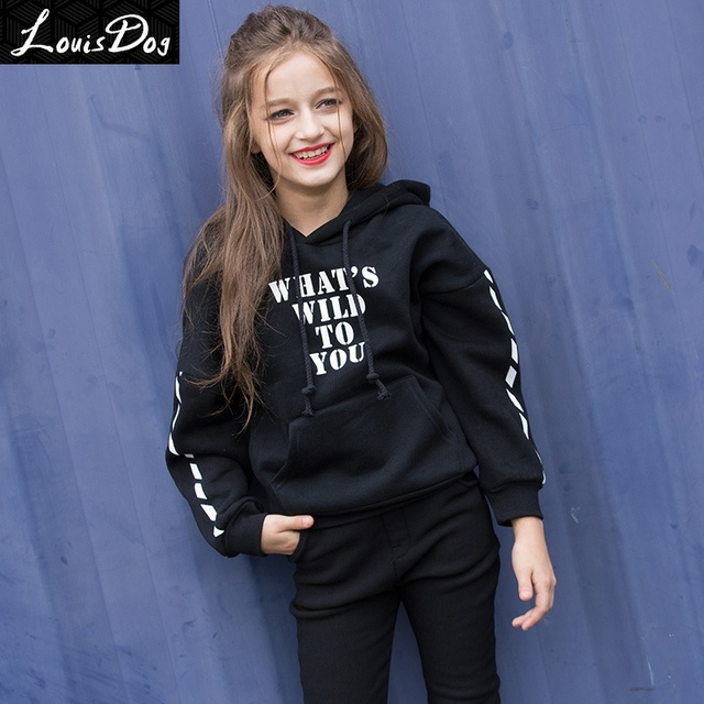 fc98707cac4 LouisDog Hoodies for Teenage Girls Kids Plus Thick Pullover Hoodies  Teenagers 100% Cotton Hoodie Juniors. Mouse over to zoom in