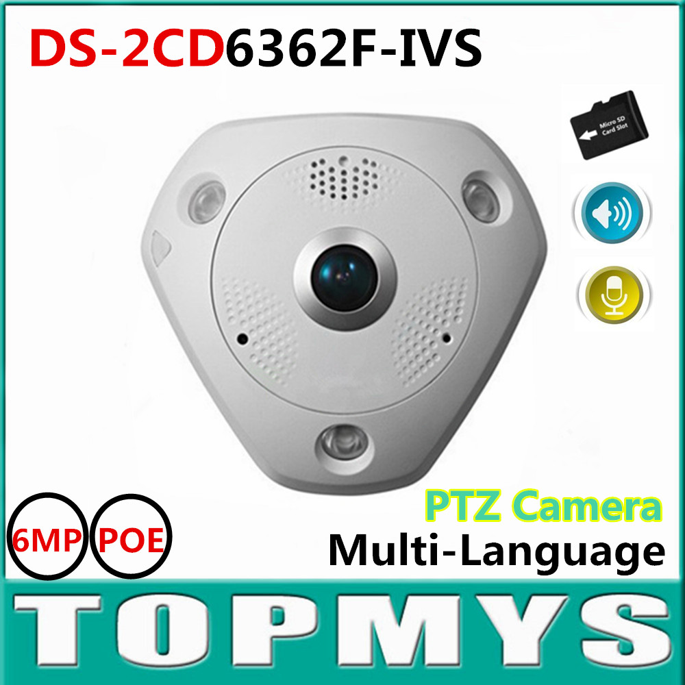 HIK fisheye IP camera DS-2CD6362F-IVS 6MP POE Sercurity CCTV IP camera Built in Mic&Speaker 360 PTZ IP Camera  IR 15M onvif 2pcs truck light 4 leds lamp