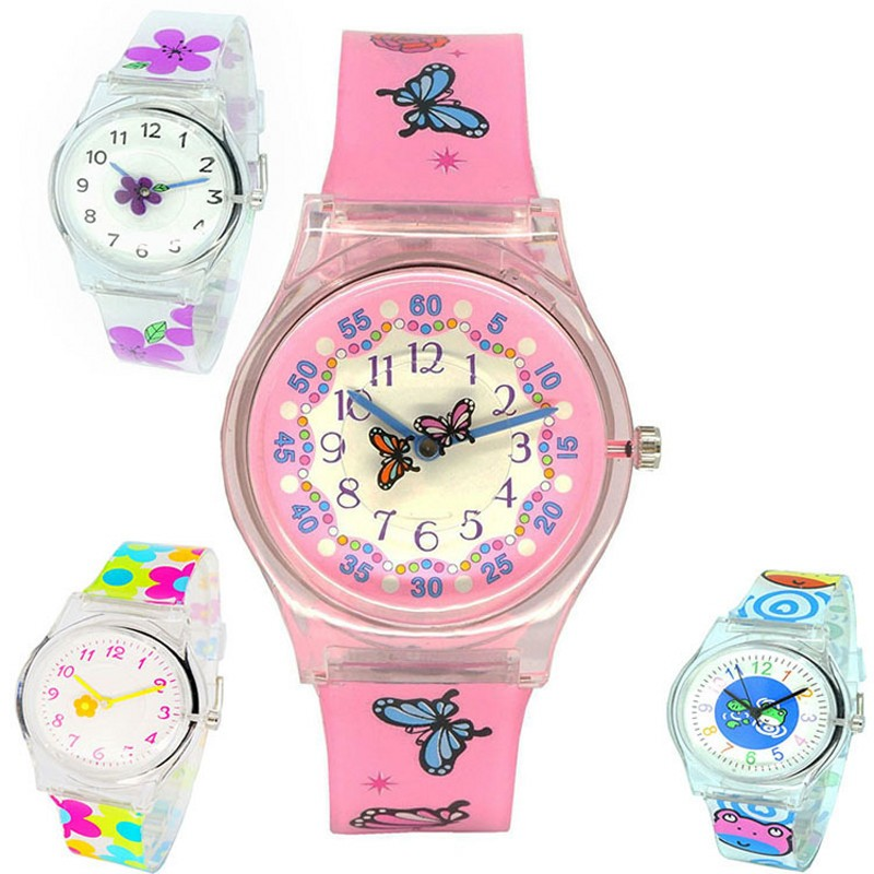 Dropshipping Kids Fashion Simple Girls Sports Watch Waterproof Silicone Butterfly Frog Boys Water Resistant Quartz Watch