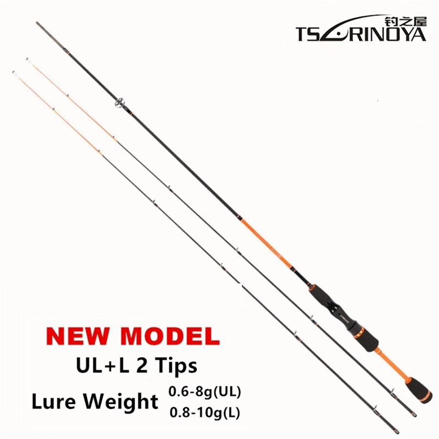 TSURINOYA Lure Vægt 0,6-8g Ultra Light Night Fishing Spinning Rod 1.8m UL + L 2 Lysende Tips Carbon Carp Spinning Fishing Rods