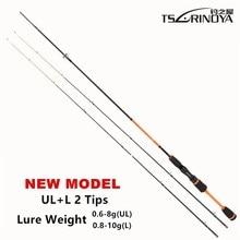TSURINOYA Lure Weight 0.6-8g Ultra Light Night Fishing Spinning Rod 1.8m UL+ L 2 Luminous Tips Carbon Carp Spinning Fishing Rods
