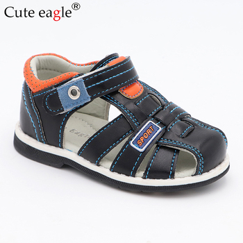 Cute Eagle Summer Boys Orthopedic Sandals Pu Leather Toddler Kids Shoes for Boys Closed Toe Baby Flat  Shoes Size 20-30 New 2019