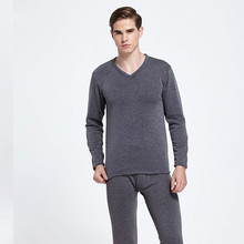 Men Underwear V Collar with Cashmere Cashmere Suit Not Thickened Elastic Solid Black Grey Thermal Underwear Sets