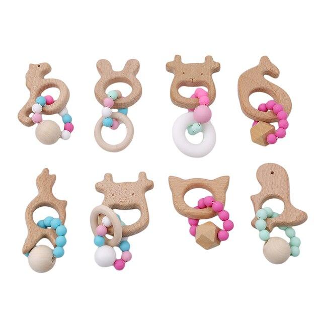 1 Pza pulseras de lactancia de bebé mordedor de madera cuentas de ganchillo mordedor de madera para dentición juguetes mordedor pulseras Montessori