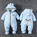 Lindo Bebé Niña de Invierno Mamelucos Capucha Perro Muchachos Mameluco Ropa Costome caliente Kids Mono ropa Del Bebé fijada con el envío zapato