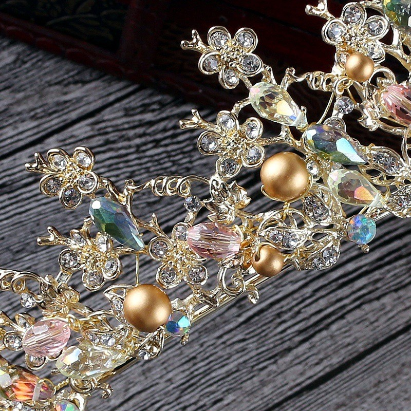 Luxury Pink Gold Pearl Bridal Crowns Handmade Tiara Bride Headband Crystal Wedding Diadem Queen Crown Wedding Hair Accessories 9