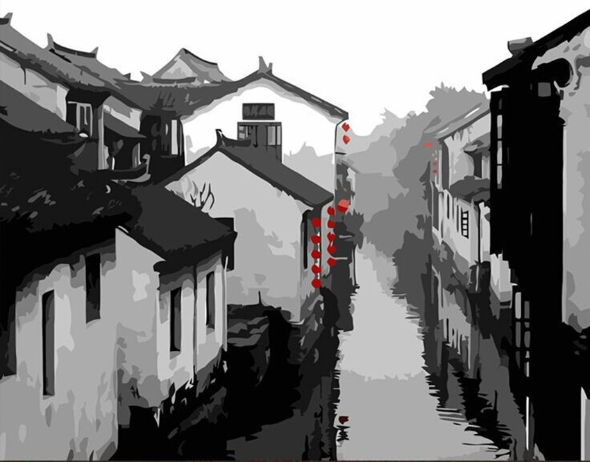 Landscape Oil Painting Black And White Ancient Chinese Town By Numbers Wall ArtG199 In Calligraphy From Home Garden On