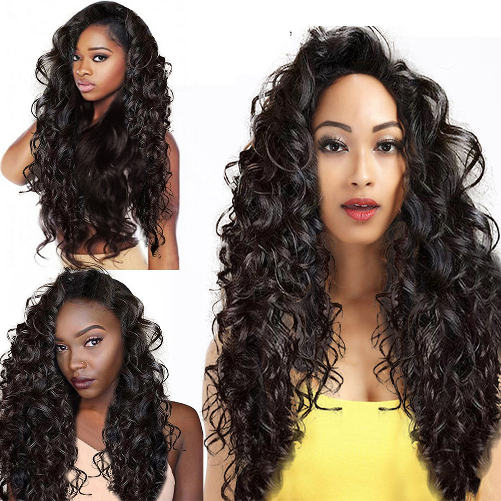 Suitable All Skin Colors Women Girl Black Brazilian Short Wavy Curly Parting High Temperature Fiber Wig Hair Gift Dropshipping