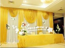 20ft*10ft white and gold wedding backdrop curtain with swag wedding drapes , wedding stage backdrop