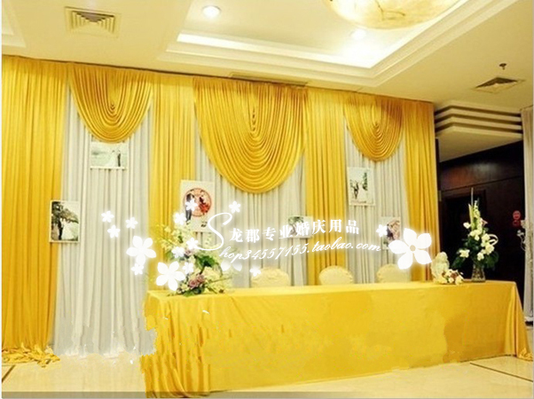 20ft*10ft White And Gold Wedding Backdrop Curtain With Swag Wedding Drapes  , Wedding Stage