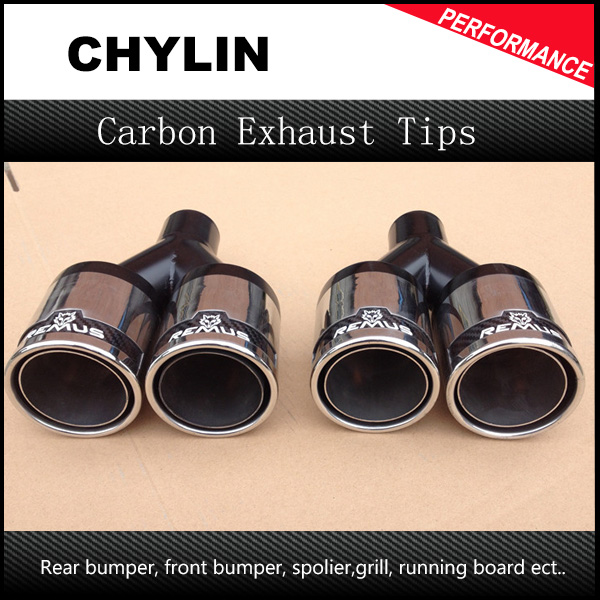 Inlet 63mm Outlet 76mm One Piece 304 Stainless Steel Universal Exhaust Tip Remus Dual Exhaust Muffler Pipe Tip universal dual stainless steel muffler for vehicles exhaust pipe 63mm inner diameter
