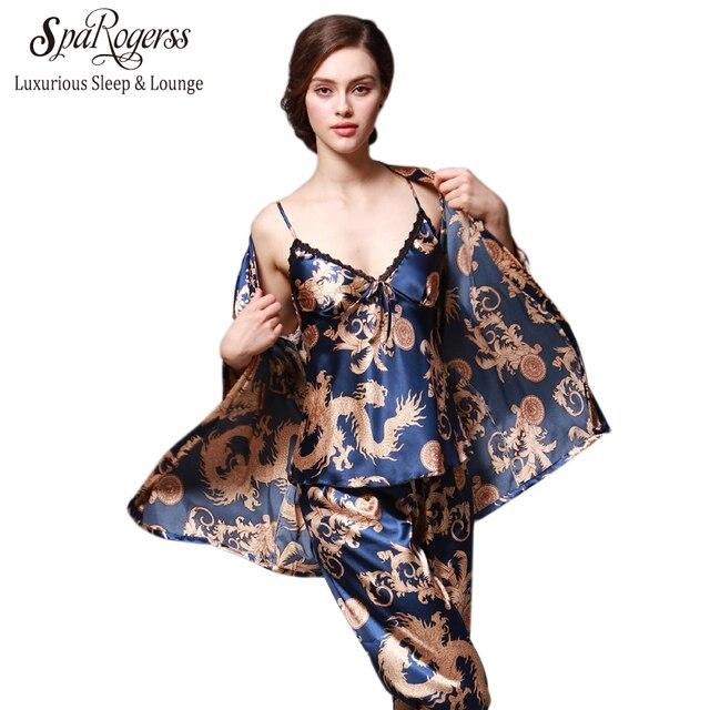 SpaRogerss 3 Pcs Robe Pajama Pants Sets 2017 New Fashion Ladies Sleep Lounge Dragon Print Night Shirt Female Pajama Sets TZ013