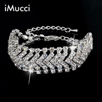 IMucci Women Wide Charm Bracelet Rhinestone Crystal Bracelets For Women Fashion Silver Bracelets Bangles Bridal Wedding