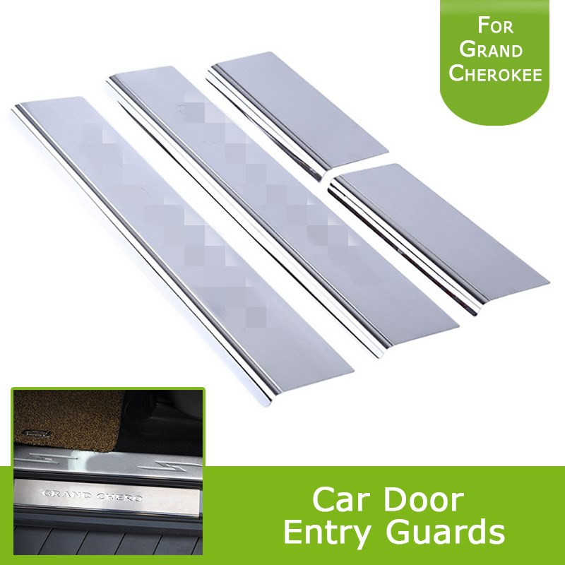 For Jeep Grand Cherokee 2011-2015 2012 2013 2014 Silver Door Front Rear Sill Protectors Guards Plates 4 Pieces Set abs plating body door side molding trim set for jeep grand cherokee 2011 2012 2013 2014 [qpa166]