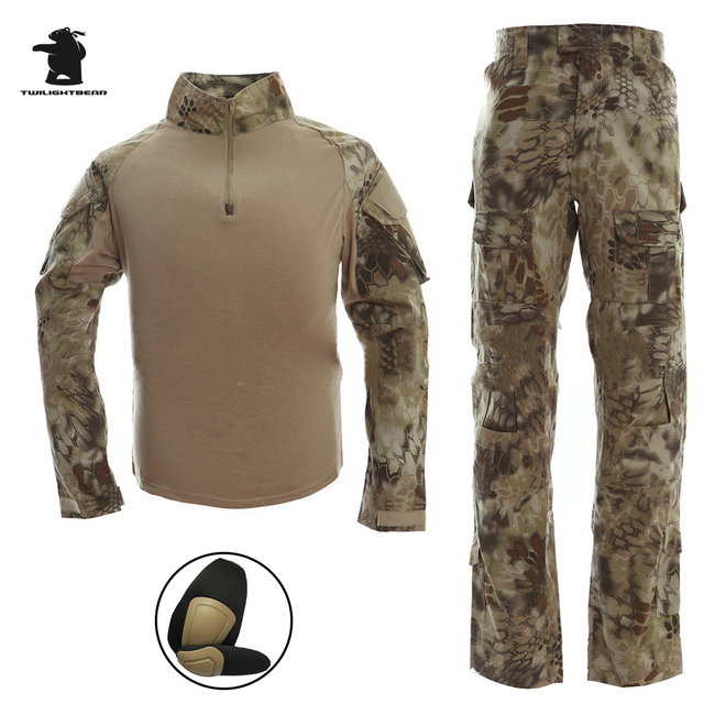 d3d180b33cc96 Military Camo Frogman Tactical Suit Marines Camouflage Tactical Frog  Clothing Uniforms Men Women With Protective gear CB9F1