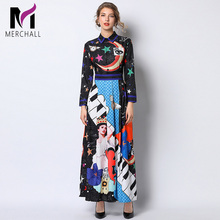 Merchall Designer Runway Dresses Women Elegant Angel Print Maxi Dress Long Party High Quality Fashion 2019 Vestido