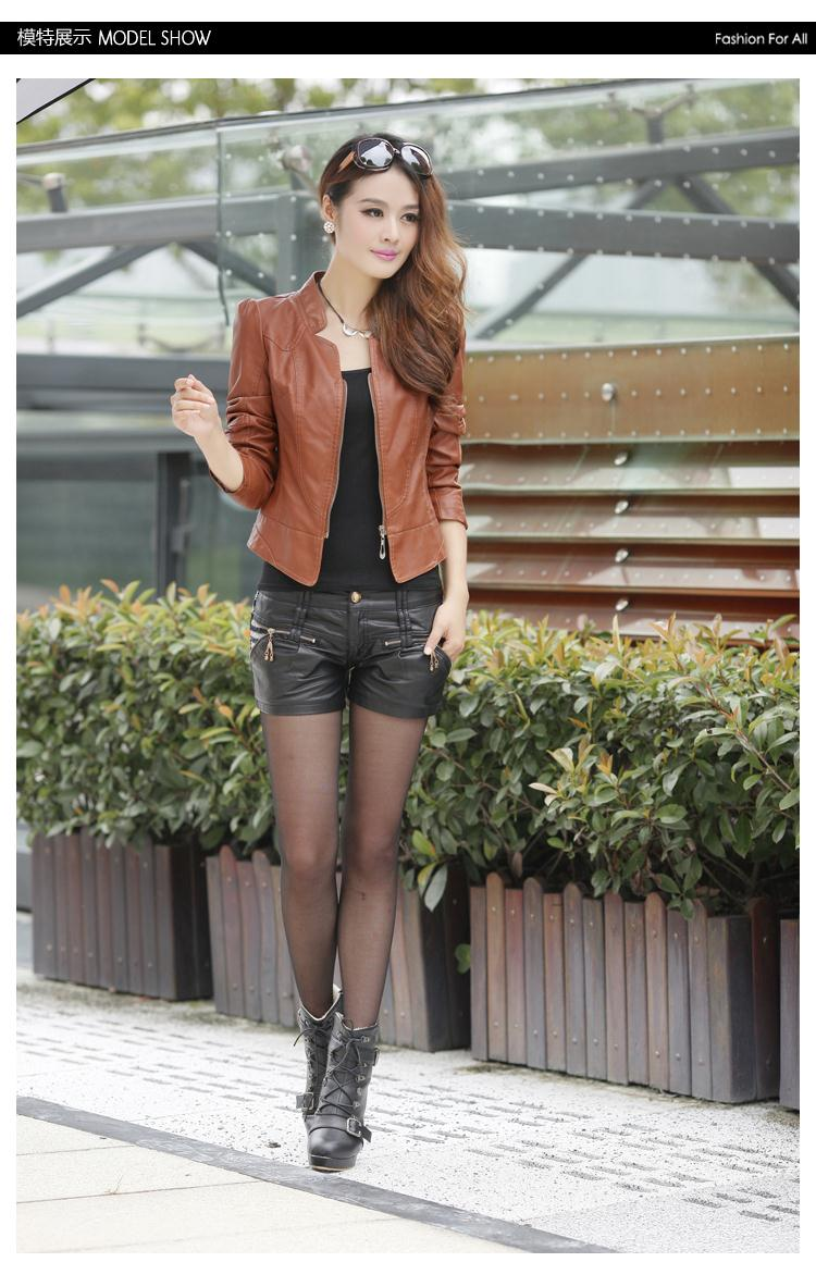 2015 Limited Full Women Leather Jacket Trench Coat New Autumn And