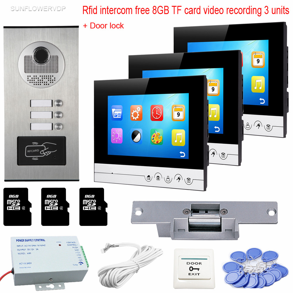 3 Monitors 7 Video Intercom With Reording 8GB TF Memory Cards Intercom Door Rfid Camera For 3 Apartments + Electric Strike Lock digital electric best rfid hotel electronic door lock for flat apartment