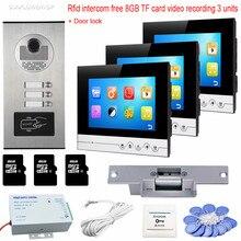 Best Buy 3 Monitors 7″ Video Intercom With Reording 8GB TF Memory Cards Intercom Door Rfid Camera For 3 Apartments + Electric Strike Lock