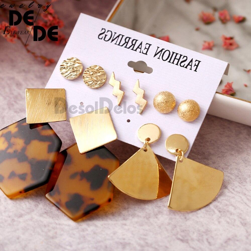 5 Pairs set Women Female Stud Earring Fashion Metallic Polygonal Leopard Print Acrylic Earrings Set 2019 in Stud Earrings from Jewelry Accessories