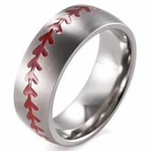 Shardon cúpula 8mm acabado mate anillo titanium del béisbol con costuras de color rojo puro fan banda deportes hombres deportes al aire libre anillo