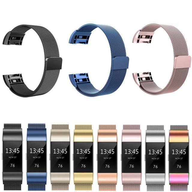 JKER Paslanmaz Çelik Manyetik Milanese için çekme bandı Fitbit Şarj için 2 Yedek Bileklik Kayışı Fitbit Şarj 3 Kordonlu Saat