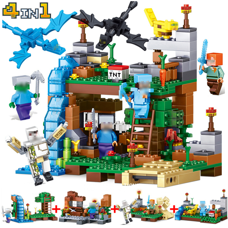 378pcs 4 in 1 Minecrafted Toys Building Blocks Dragon Figures Bricks My Worlds Children Toy Gift Compatible With Legoing citys my world figures toy building blocks compatible with legoinglys minecrafted city 4 in 1 diy garden bricks toy gift for kid