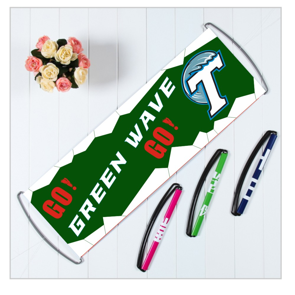 Custom ncaa fbs tulane green wave banners with handle printed american athletic college football teams flags 24x70cm