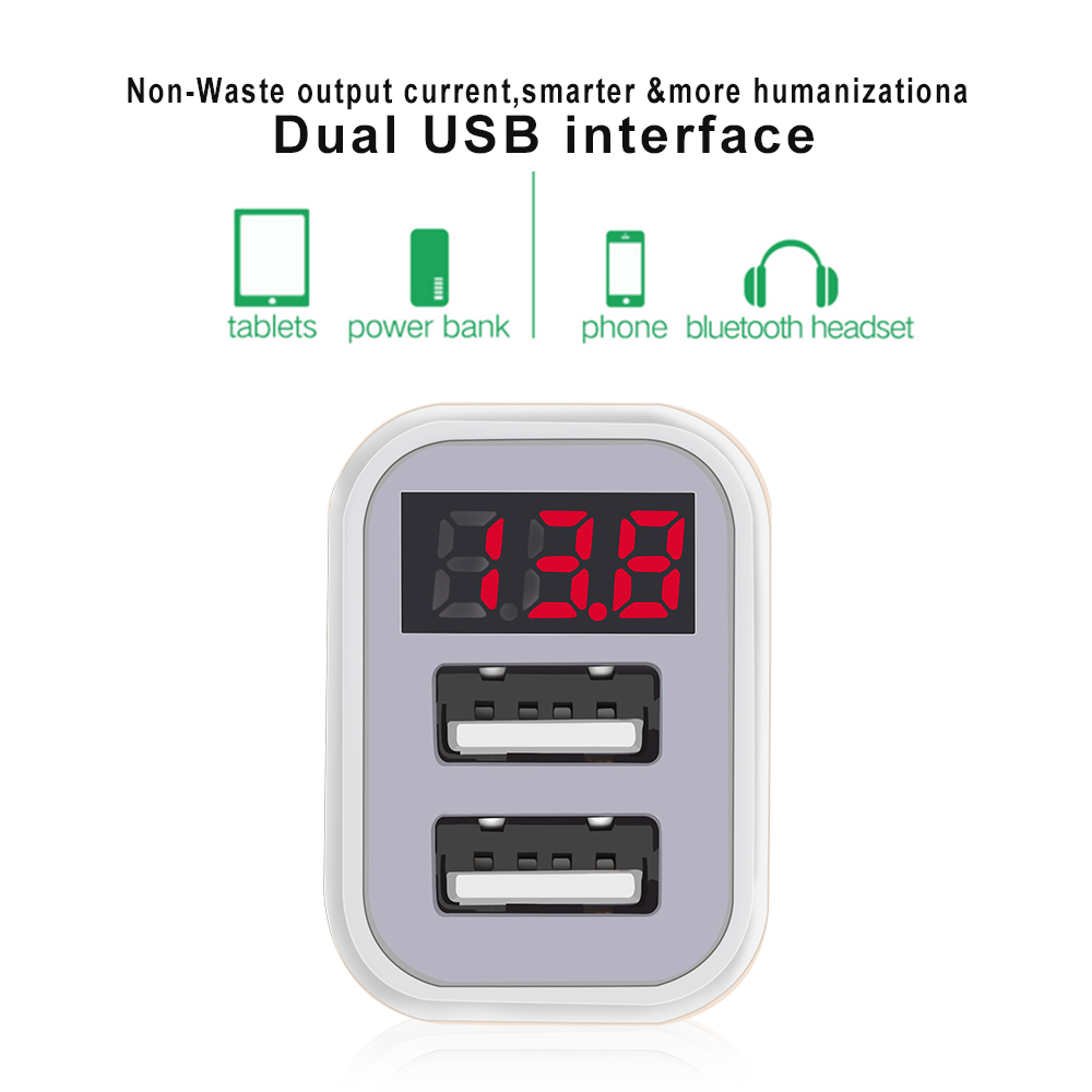 OLAF Dual USB Car Charger LED Digital Display GPS Auto Fast Charge Adapter USB Chargers For Samsung Xiaomi Tablet Car-Charger (2)
