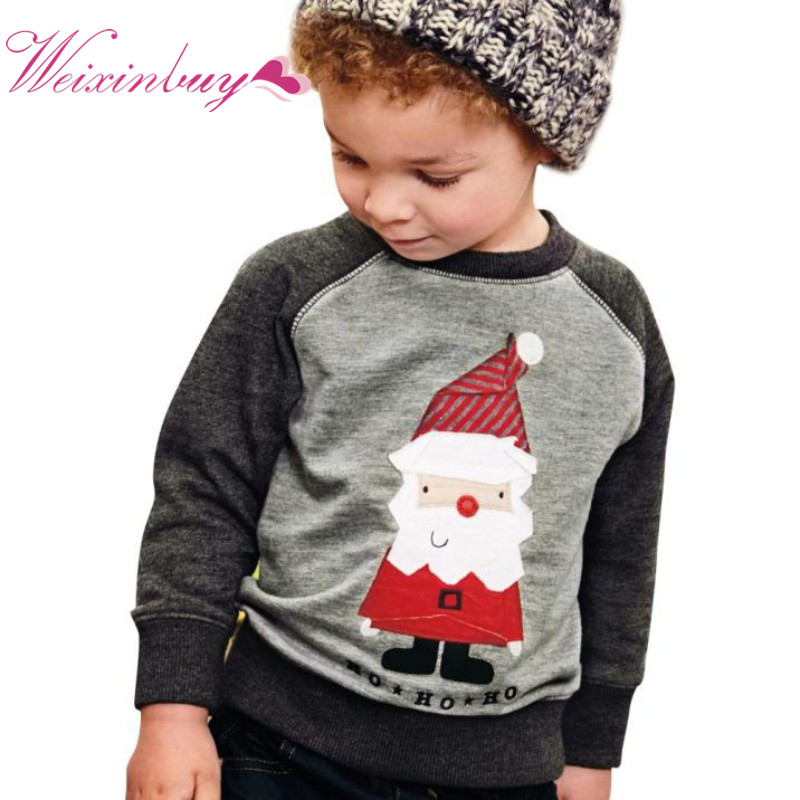 2017 Christmas Boys Sweatshirt Cotton T Shirt for Boys Santa Outwear 2-7Y kids clothes spring autumn boys tops tees clothes