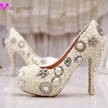 Wholesale Amazing Elegant Ivory Pearl Party Prom Shoes Custom Design Free Shipping Wedding Bridal Shoes Birthday Party Pumps