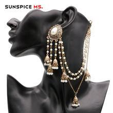 SUNSPICEMS-pendiente de la India, tocado de joyería hecho a mano, cadena de cuentas con colgante de Metal, Color dorado antiguo, bisutería nupcial