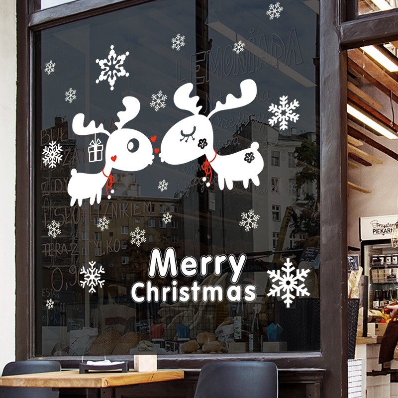 Merry Christmas Wall Stickers Glass Window Store Shopping Malls Decoration Scene Props Home Office Party Festival In From