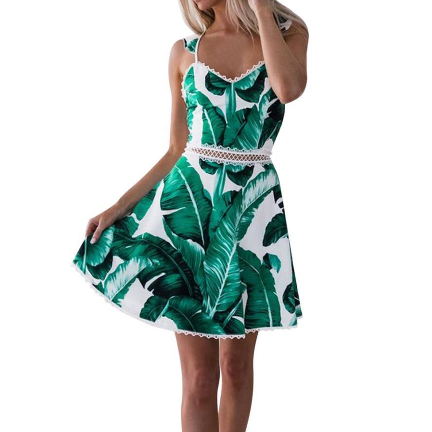 2018 Women Fashion Sexy Lace Leaves Print Sling Sleeveless Backless Mini Dress Beach Party Summer Dress vestidos de fiesta
