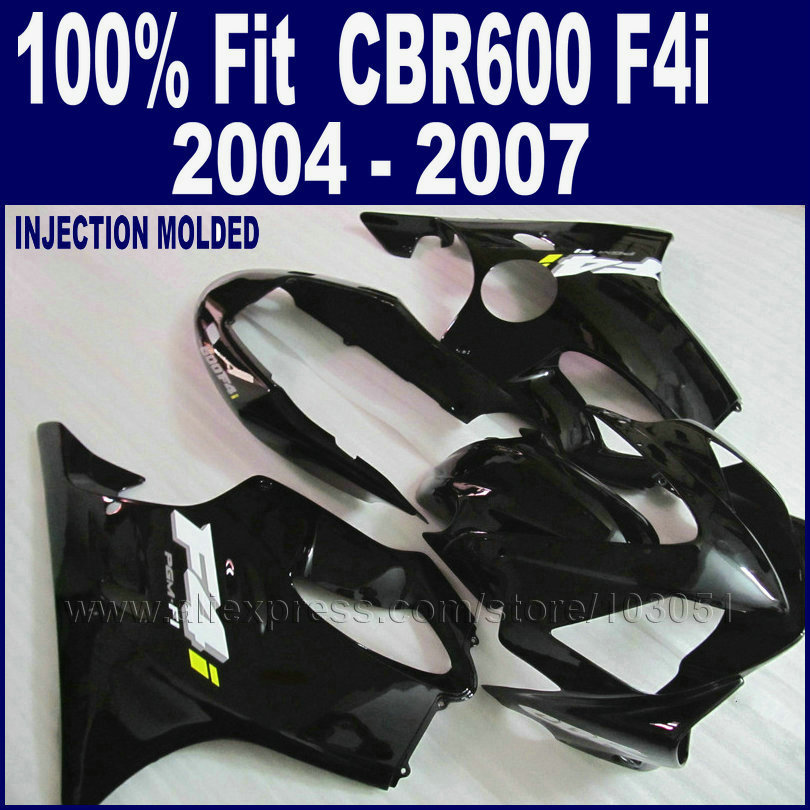 ABS hulls Injection All black fairing <font><b>parts</b></font> for <font><b>Honda</b></font> <font><b>CBR600F4i</b></font> 2004 2005 2006 2007cbr600 f4i 04 05 06 07 custom fairing set image