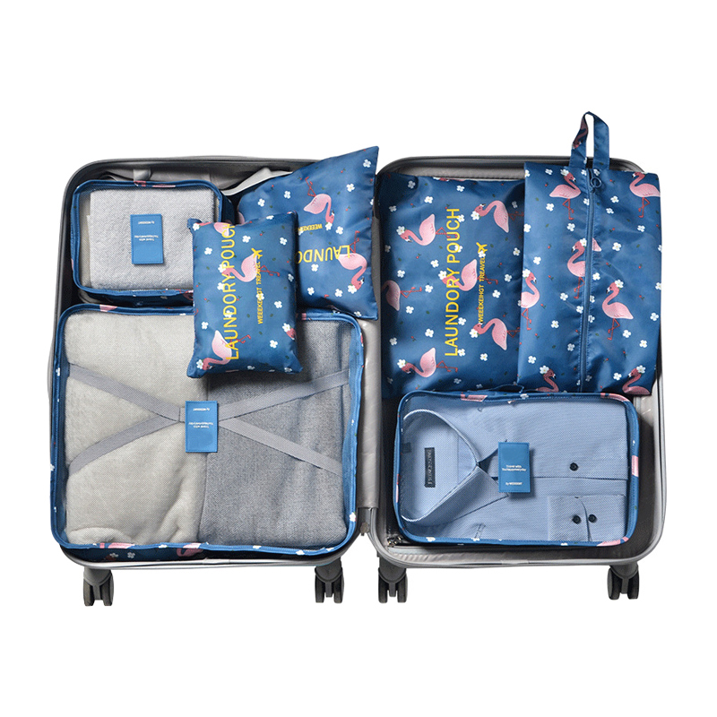 Flamingo Pattern 7 Pcs/Set Travel Bag System Durable Oxford Packing Cube Organizer Clothes Underwear Sorting Tidy Trip Zip Pouch system zip