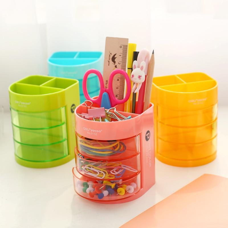 Caja de soporte de mesa multifunción de Color coreano para almacenamiento de lápices, organizador de papelería de oficina para estudiantes, suministros escolares|Portaplumas| |  -