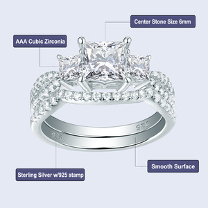 Image 5 - Newshe Solid 925 Sterling Silver Wedding Engagement Ring Set For Women 1.5 Ct Princess Cut AAA Cubic Classic Jewelry 1R0053
