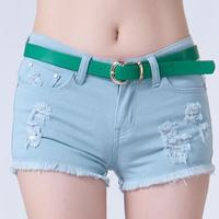 Korean Fashion Candy Color Slim Women Jeans Shorts Hole Casual Cotton Denim Shorts Ladies Sexy Plus