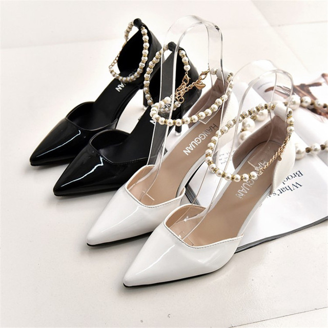 D'Orsay & Two-Piece Office & Career Women Pumps White & Black Pu Leather High Heels Shoes 3 Inch Pearl Shoes D101 35