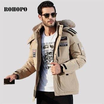 Abrigo de plumón ROHOPO, chaqueta de plumón para hombre militar con cuello y capucha, abrigo de plumón de longitud media con bolsillos para hombre, chaquetas para hombre